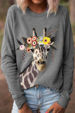Floral Giraffe Cartoon Print Casual Crew Neck T-shirt
