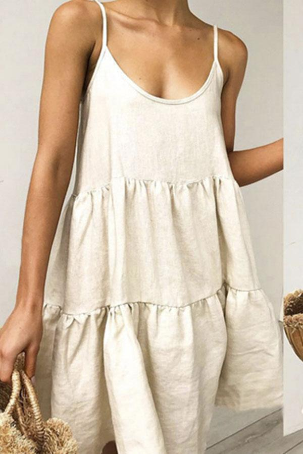 Linen Scoop Neck Backless Cami Mini Dress