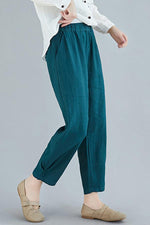 Casual Solid Mid Waist Harem Pants