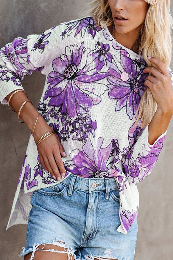Holiday Floral Gradient Jacquard Hollow Out Knitted Top
