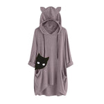 Cartoon Dual Pockets Asymmetrical Hem Cat Ears Knitted Hoodie