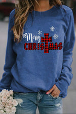 Merry Christmas Plaid Letter Snowflake Print Simple T-shirt