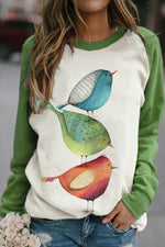 Three Lovely Bird Print Raglan Sleeves Color-block Lively Sweatshirt