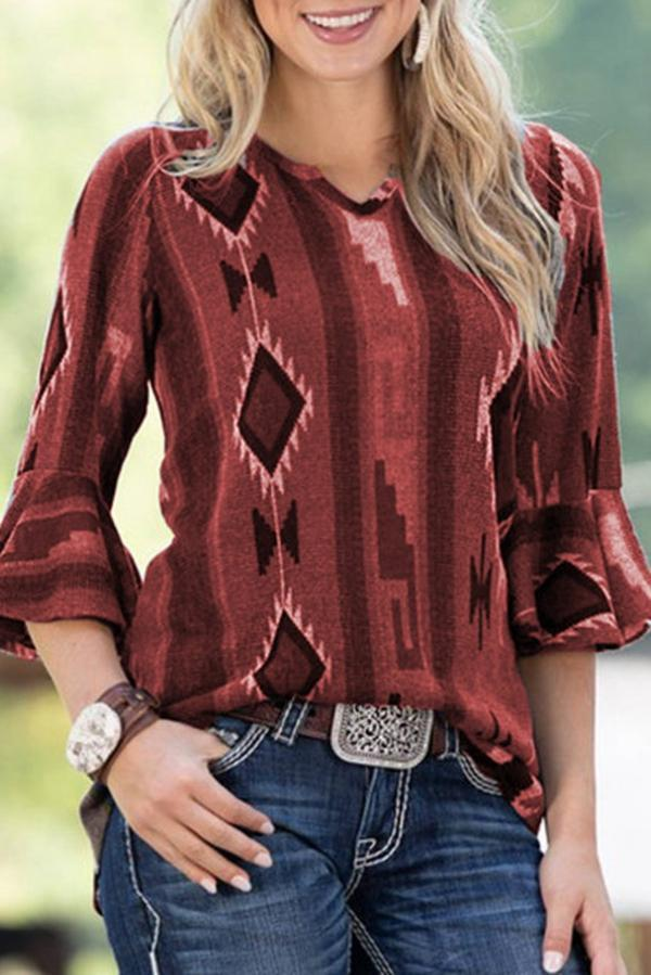 Geometry Print Flare Sleeve Casual T-shirts