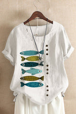 Fish Print Buttons Down Vintage Paneled Blouse