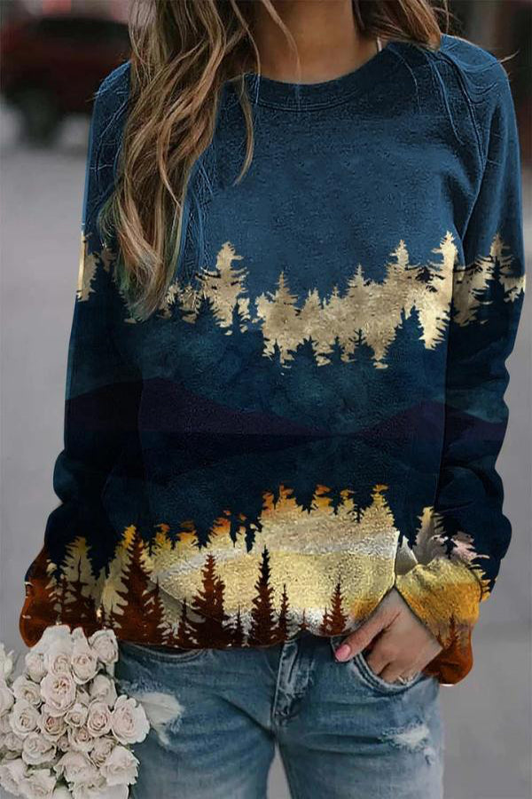 Color-block Vintage Landscape Print Gradient Sweatshirt