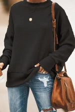 Solid Simple Style Knitted Paneled Ribbed Sweater