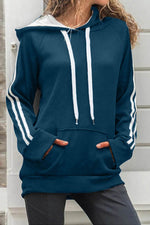Color-block Striped Jacquard Pocket Casual Drawstring Hoodie