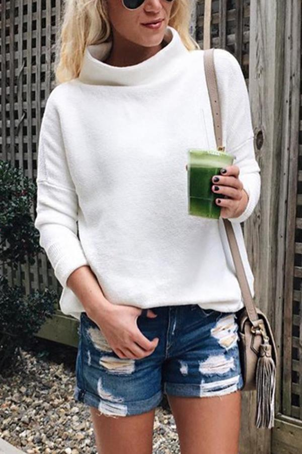 Casual Solid High Neck Knitted Sweater