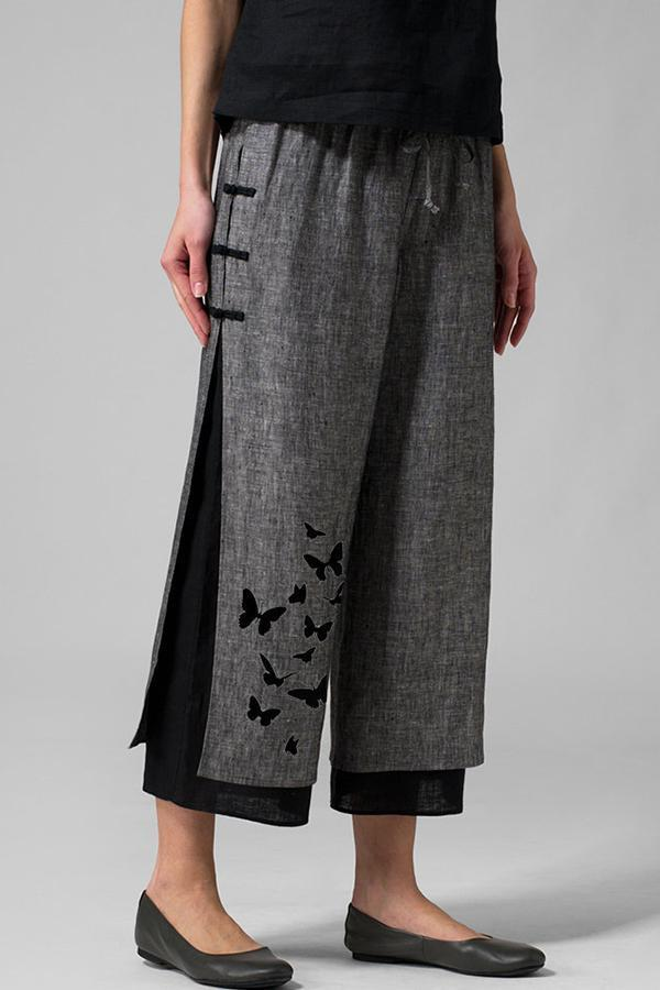 Butterflies Printed Linen Frog Button Pants