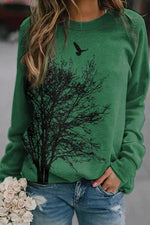 Women Bird Flying Above Tree Print Nature Landscape Literary Sweatshirt