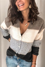 Stripe Casual V Neck Long Sleeves Sweater