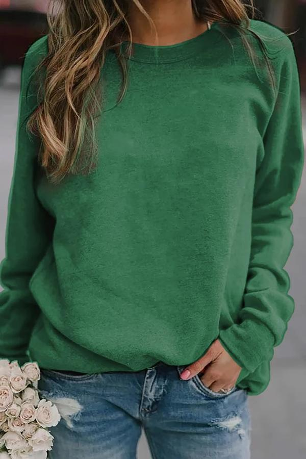 Casual Solid Crew Neck Long Sleeves Blouse
