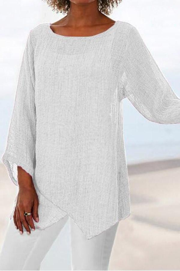 Asymmetric Casual Long Sleeves Linen T-shirts