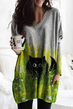Cartoon Black Cat In The Gradient Underbrush Floral Print Casual Mini Dress