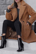 Two Button Fuzzy Longline Lapel Coat