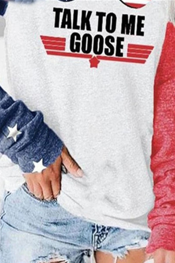 Talk To My Goose Letter American Flag With Glasses Print Raglan Sleeves Sweety Color Block T-shirt