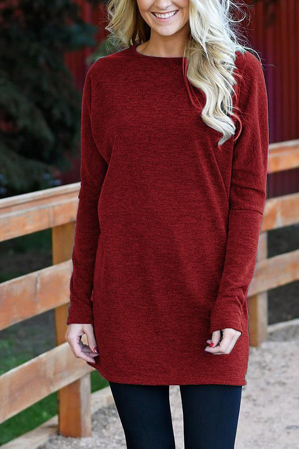 Round Neck Long Sleeves Casual Mini Dress