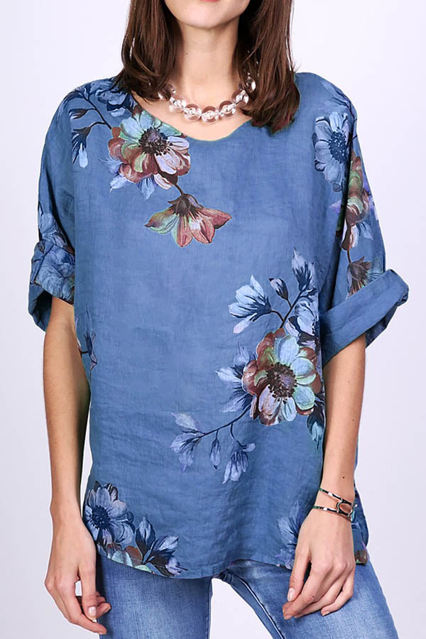 Vintage Floral Print Paneled Half Sleeves Crew Neck T-shirt