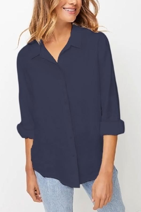 Casual Solid Buttons Down Long Sleeves Shirt