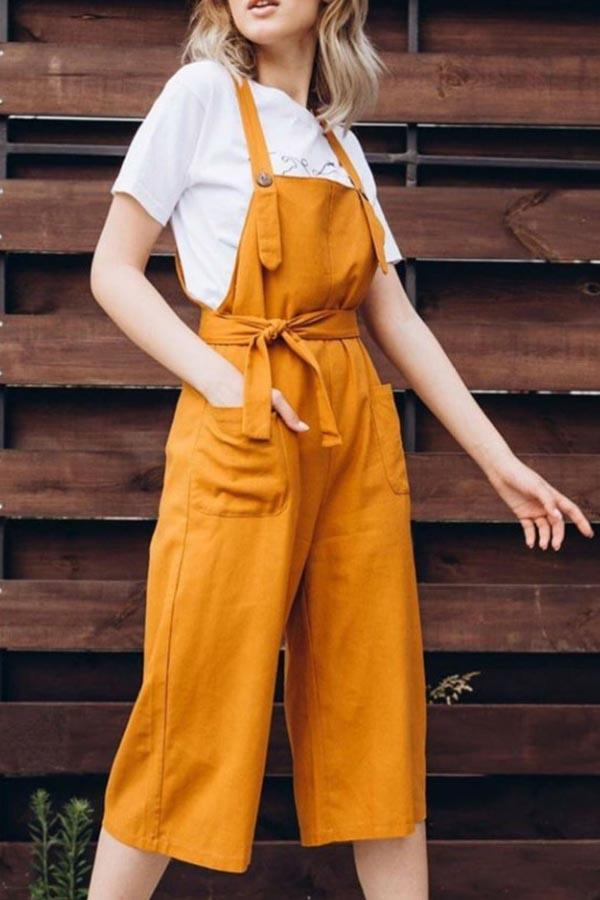 Paneled Solid Pockets Casual Overalls Jumpsuit