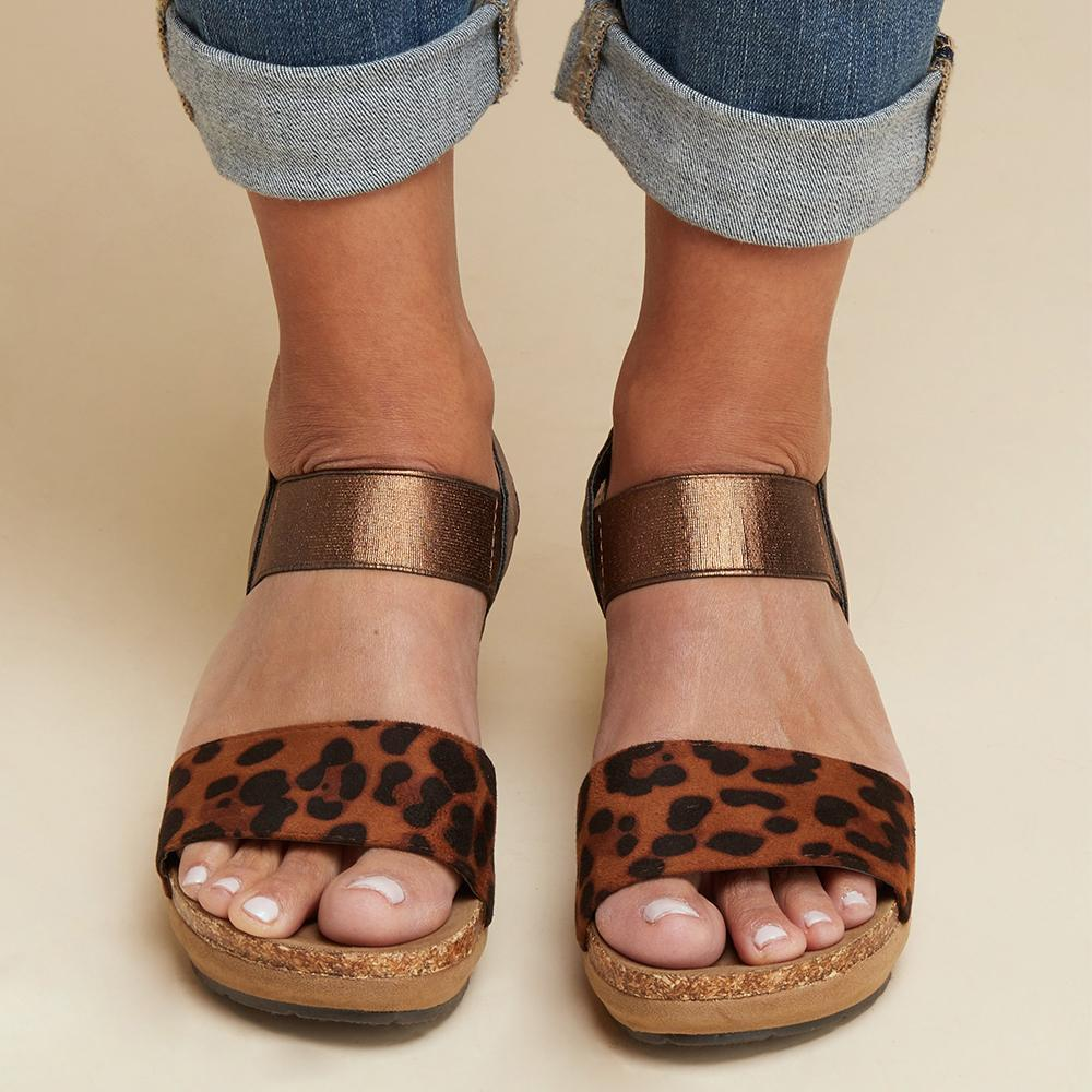 Open Toe Leopard Platforms Sandals