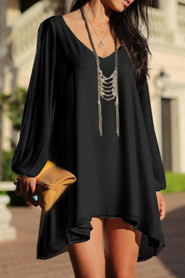 V Neck Cutout Shift Loose Casual Mini Dress