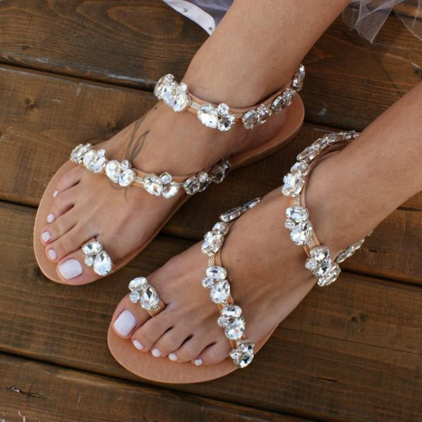 Rhinestone Flat Slip-On Clip Toe Sandals