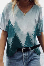 Literary Nature Landscape Forest Gradient Print Pocket Shift T-shirt