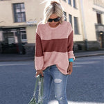 Colorblock Round Neck Casual Sweater