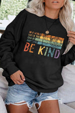 In A world Where You Can Be Anything Be Kind Rainbow Striped Peace Symbol Print Casual T-shirt