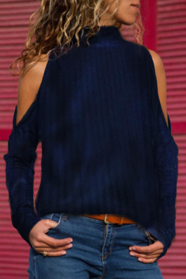 Sweety Ribbed Solid Halter Neck Paneled Turtleneck Blouse