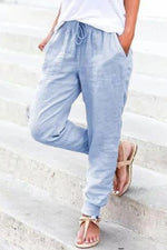 Casual Solid Self-tie Side Pockets Pants