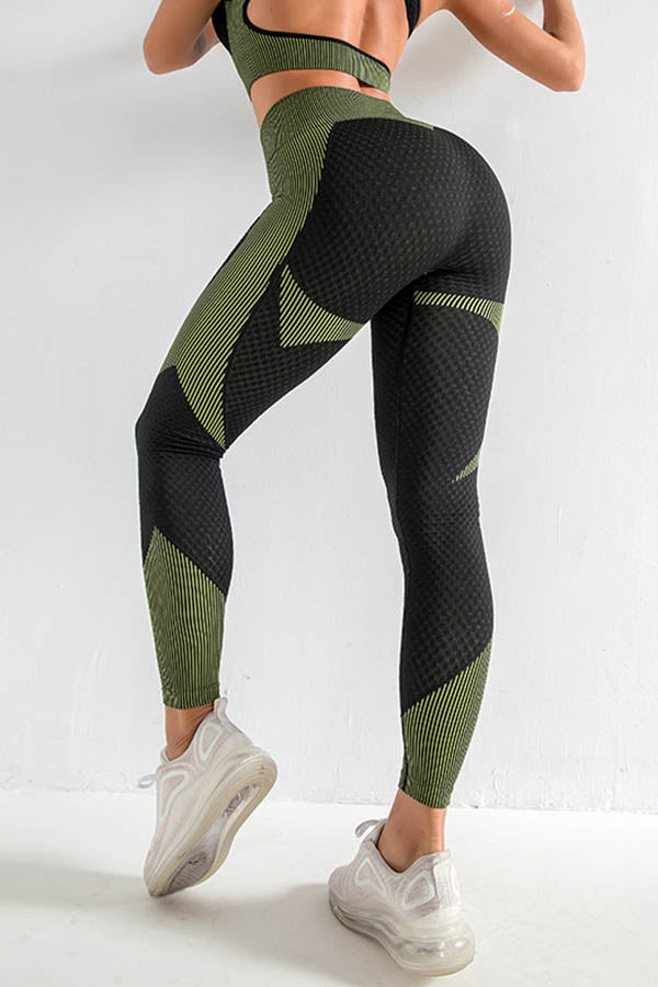 High Waist Butt Lifting Tummy Color-block Striped Jacquard Yoga Fitness Sports Pants