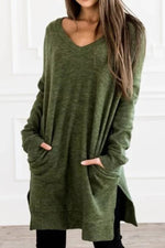 Solid Casual V Neck Sweater Dress