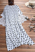 Paneled Polka Dots V-neck Casual Midi Dress