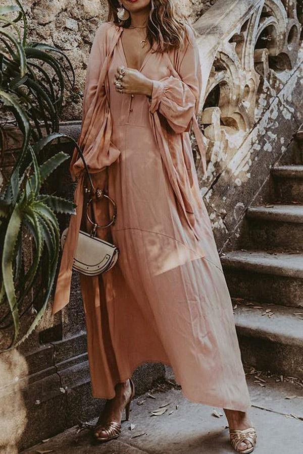 Solid Casual V-neck Linen Maxi Dress