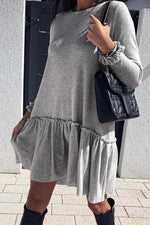 Paneled Solid Casual Pleated Mini Dress