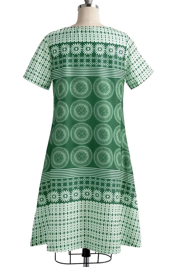 Vintage Casual Round Print Midi Dress