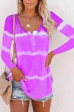 Striped Gradient Print Buttoned Crew Neck Casual T-shirt
