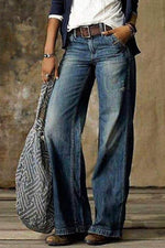 Women Solid Paneled High Waist Side Pockets Vintage Wide Leg Jeans