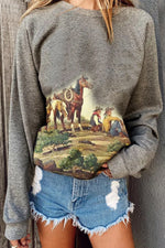 Oil Painting Character With Horse On The Land Print Artistic Sweatshirt