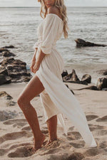 Solid Off Shoulder Half Sleeves Beach Dress