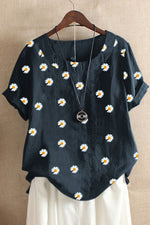 Daisy Print Crew Neck Paneled Short Sleeves T-shirt