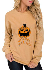 Nothing Matters Letter Pumpkin Print Halloween Party Sweatshirt