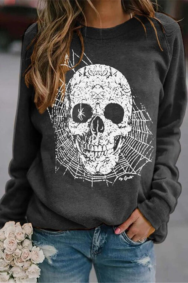 Halloween Spider In Skull Print Party Sweatshirt
