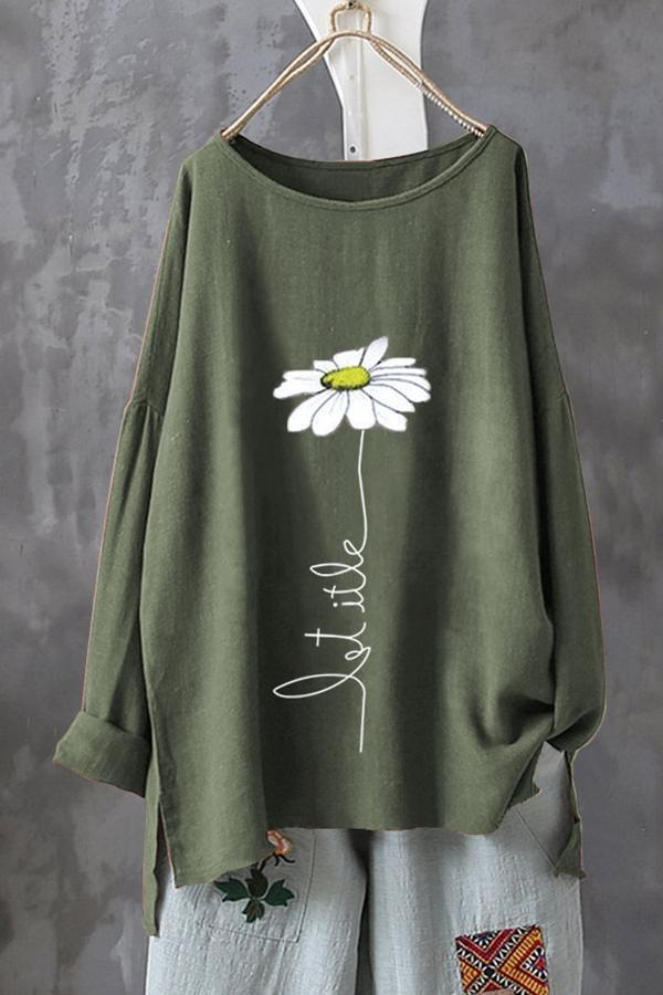 Floral Slit Hem Long Sleeve Linen T-shirt