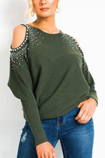 Hot Drilling Beaded Cold Shoulder Casual T-shirts