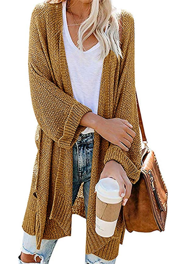 Paneled Solid Ribbed Casual Slit Cardigan