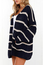 Striped Color-block Long Sleeves Cardigans